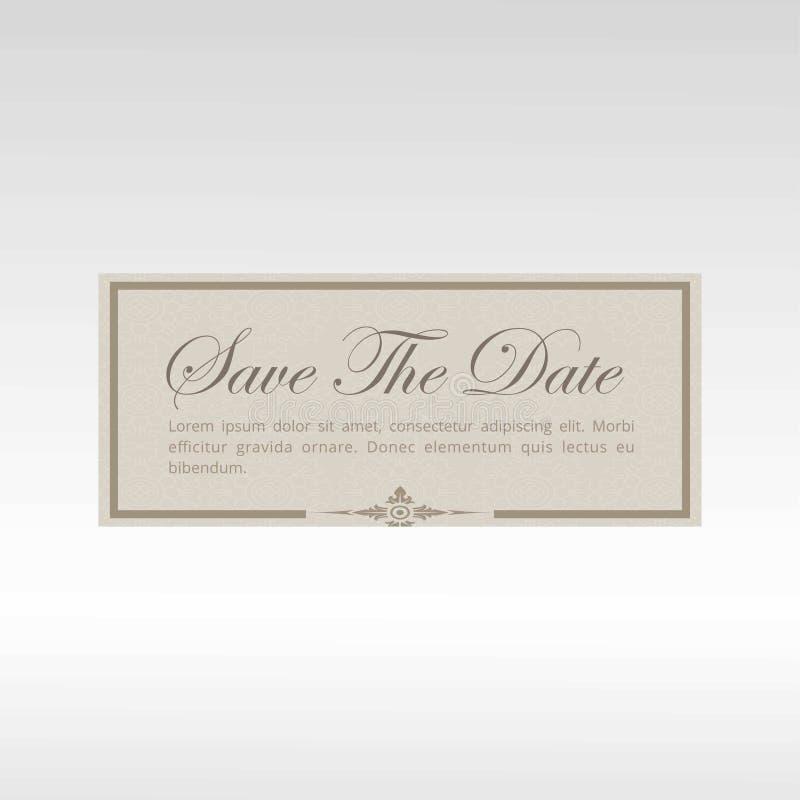 Save datę dla ślubnej zaproszenie karty ilustracja wektor