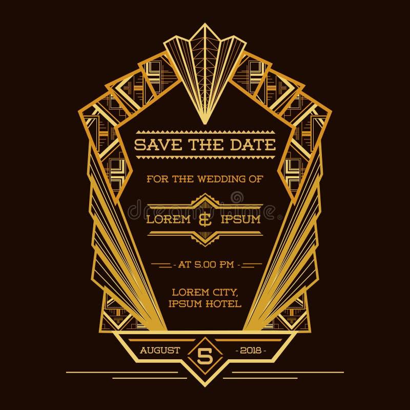 Save datę - Poślubiać zaproszenie kartę ilustracji
