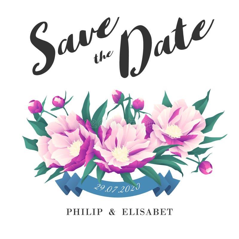 Save datę z peoniami karciany ścinek zawiera kartoteki maski rocznika ślub royalty ilustracja