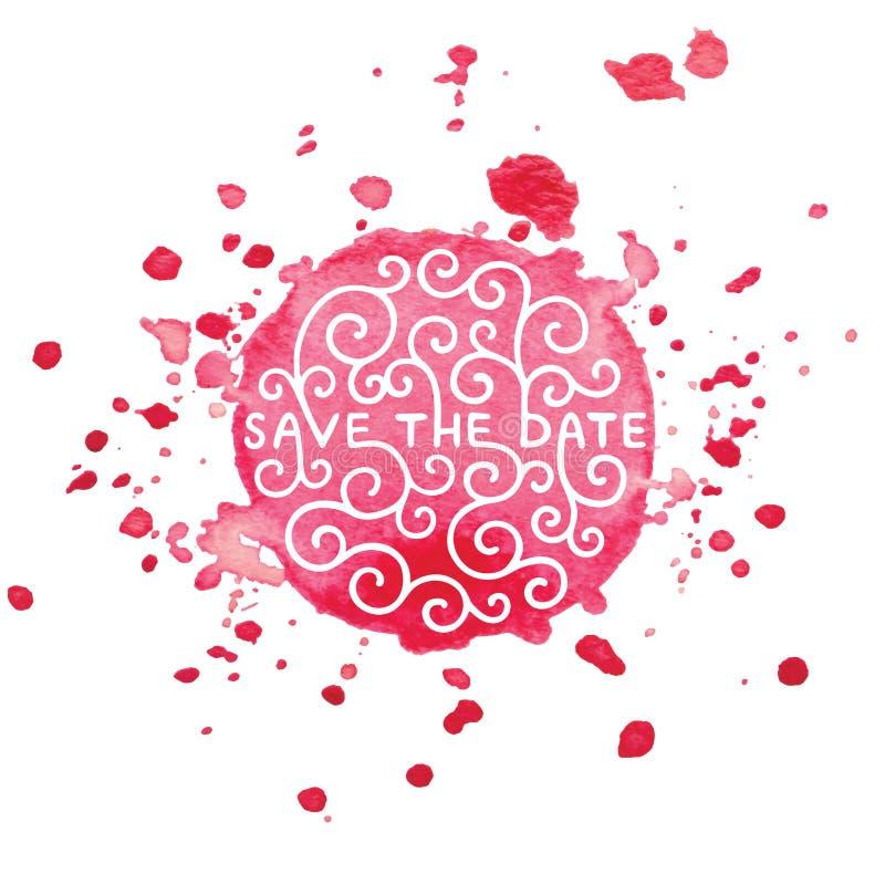 Save datę zaprasza karcianego wektorowego szablon z nowożytną kaligrafią na różowa akwarela malującym pluśnięcia tle ilustracji
