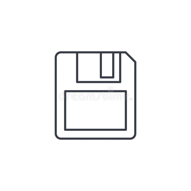 Save data, diskette thin line icon. Linear vector symbol royalty free illustration