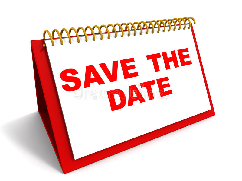 Save the date. Words save the date on a calender in red, reminder and date saving concept
