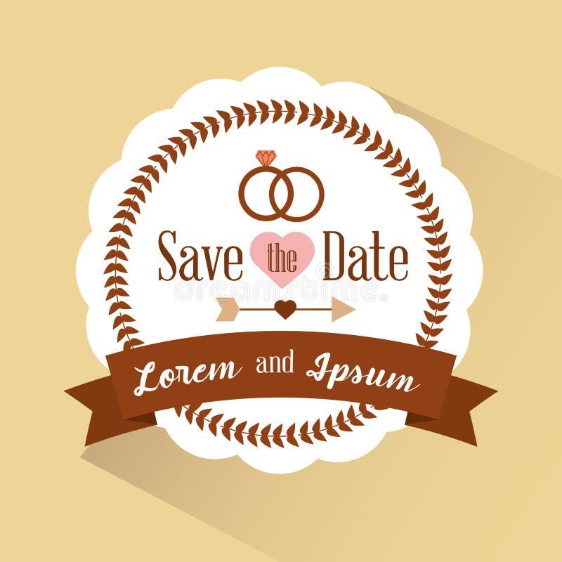 Save the date badge romantic retro invitation royalty free illustration