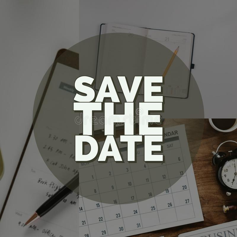 Save the date black and white banner vector illustration