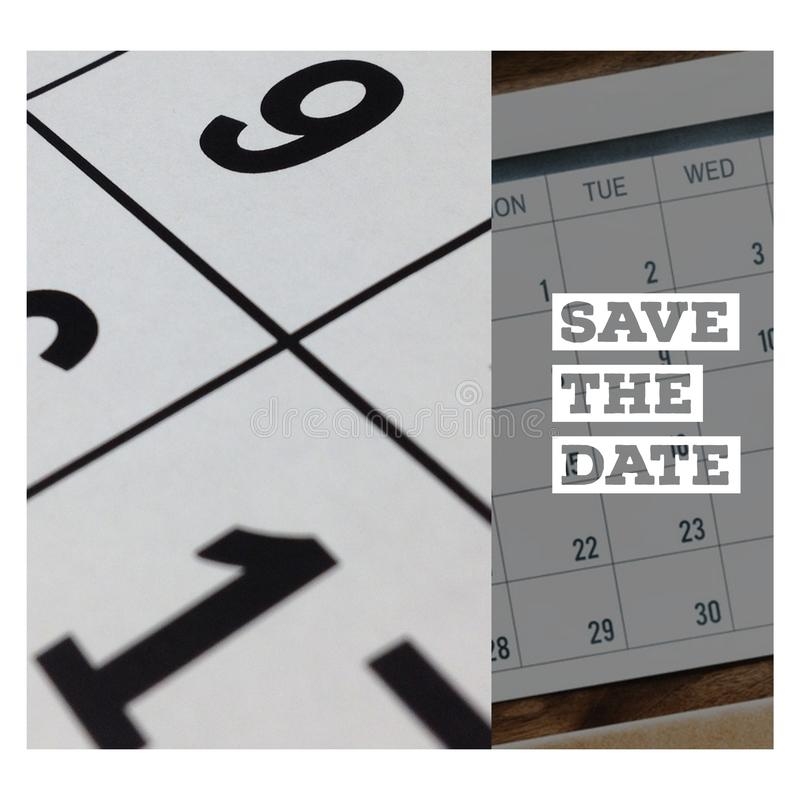 Save the date black and white banner stock illustration