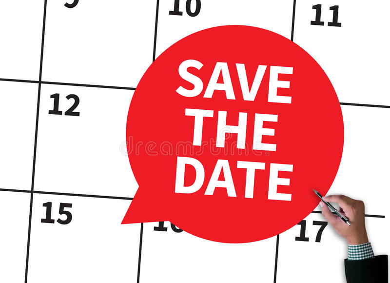 SAVE THE DATE. Businessman work on white broad, top view stock photos
