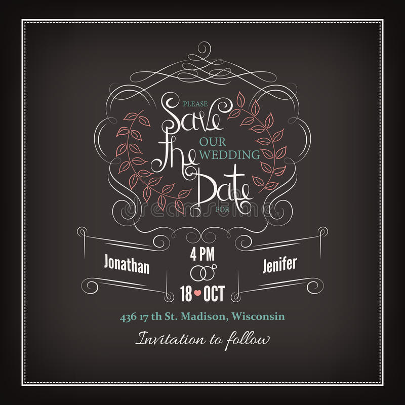 Save the Date Calligraphy stock illustration