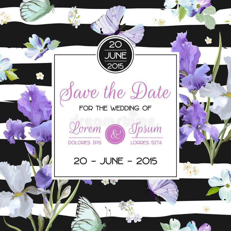 Save the Date Card with Flowers and Butterflies. Floral Wedding Invitation Template. Botanical Design for Greeting Cards. Vector illustration stock illustration