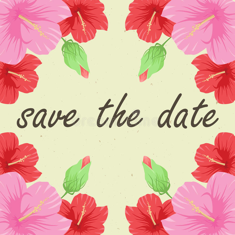 Save the date card. With flowers hibiscus vector illustration