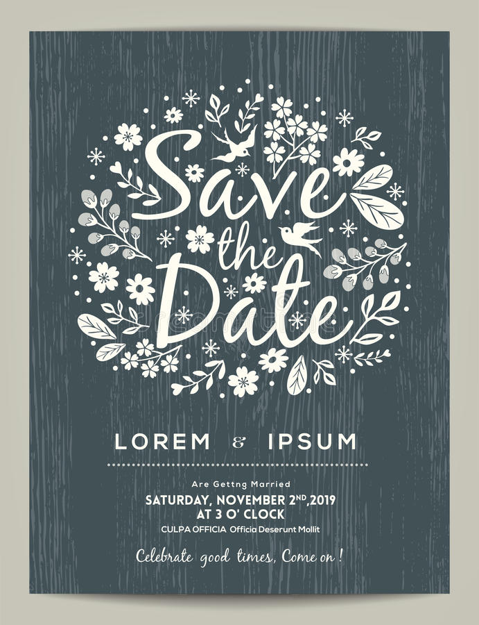 Save the date card with hand drawn illustration stock illustration