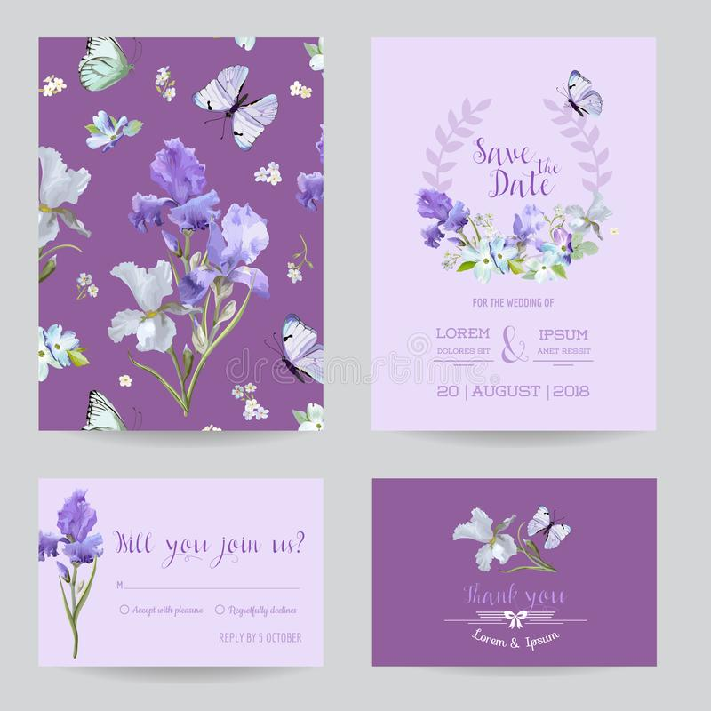 Save The Date Card With Iris Flowers And Flying Butterflies. Floral ...