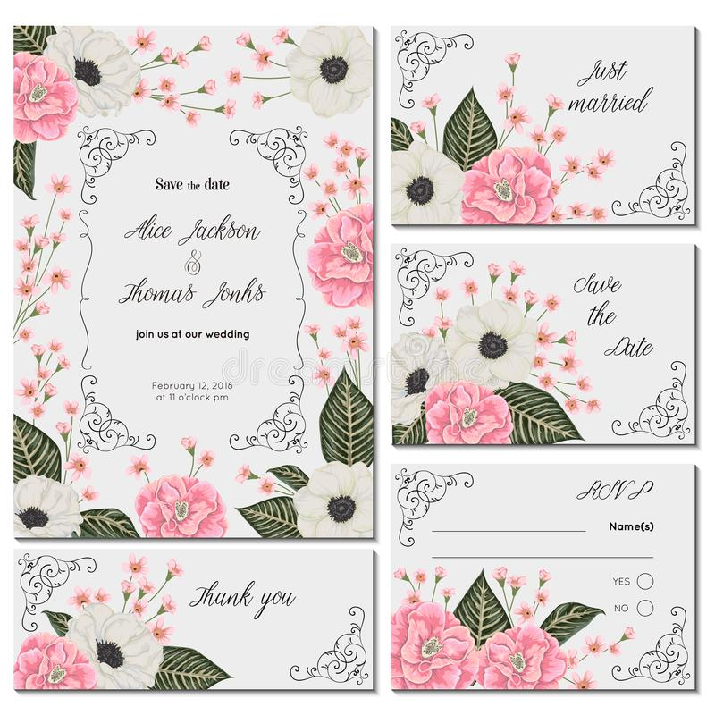 Save the date card with pink camellias, white anemone flowers and alstroemeria. Holiday floral design for wedding invitation. royalty free illustration