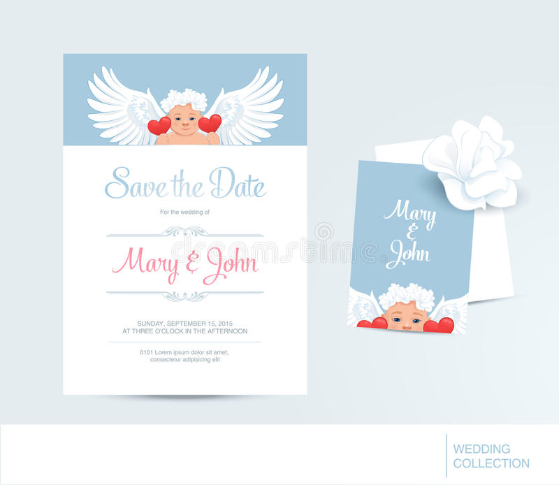 Save The Date Card Template With Angel And Hearts Wedding