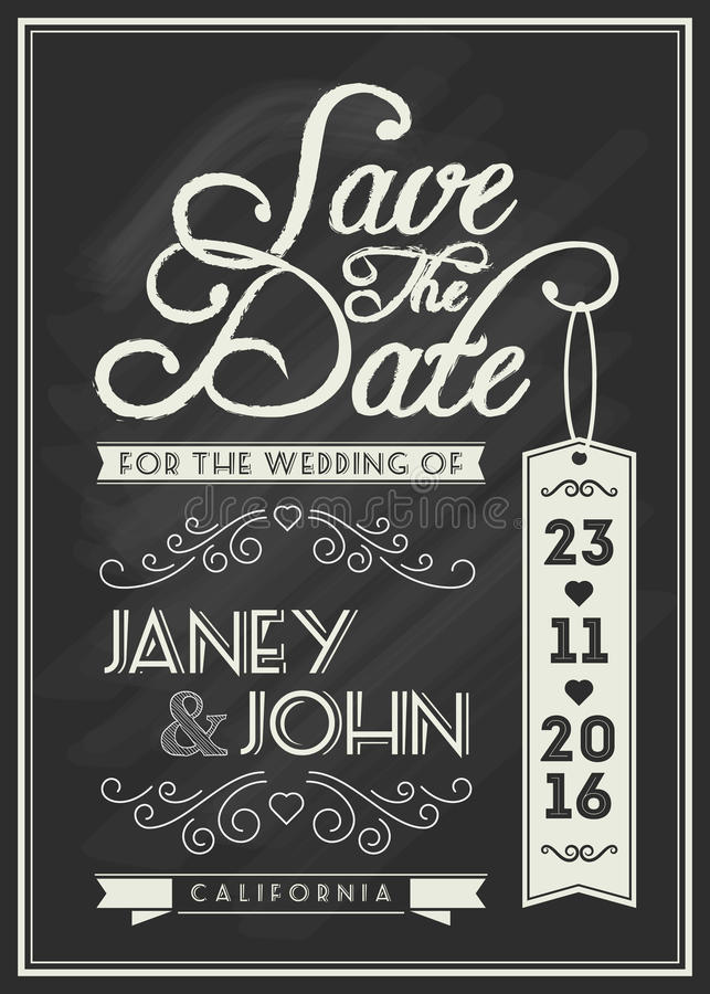 Save The Date Card Template Design With Typography Stock Vector ...