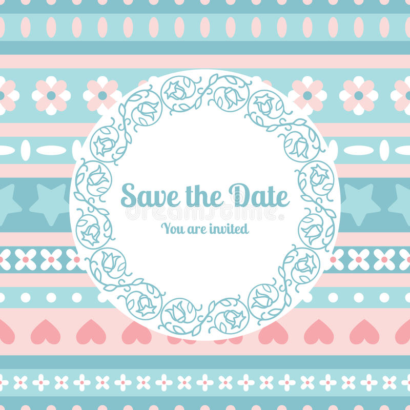 Save The Date Card Template With Floral Frame Stock Vector ...