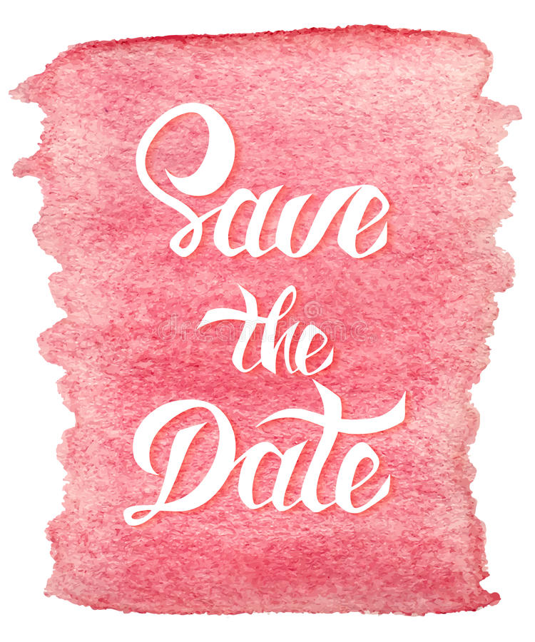 Save the Date card template with handdrawn unique typography vector illustration