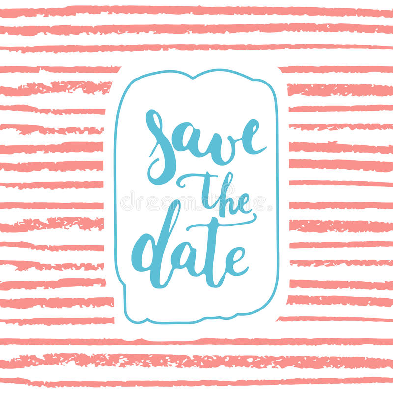 Save The Date Card Template On The Striped Pink Background Hand