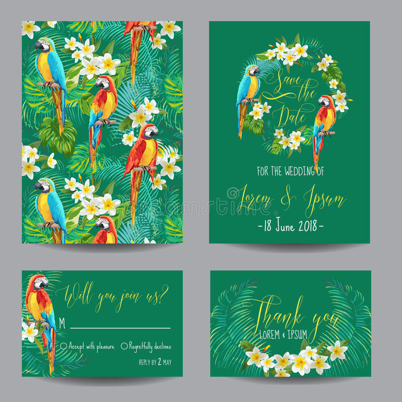 Save the Date Card - Tropical Flowers and Birds - for Wedding stock illustration