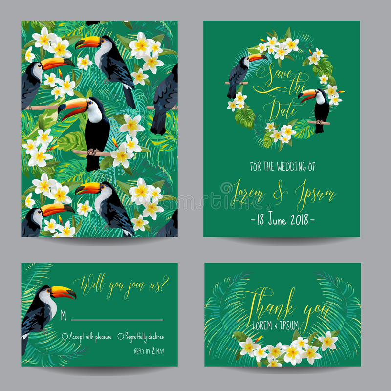 Save the Date Card. Tropical Flowers and Birds vector illustration