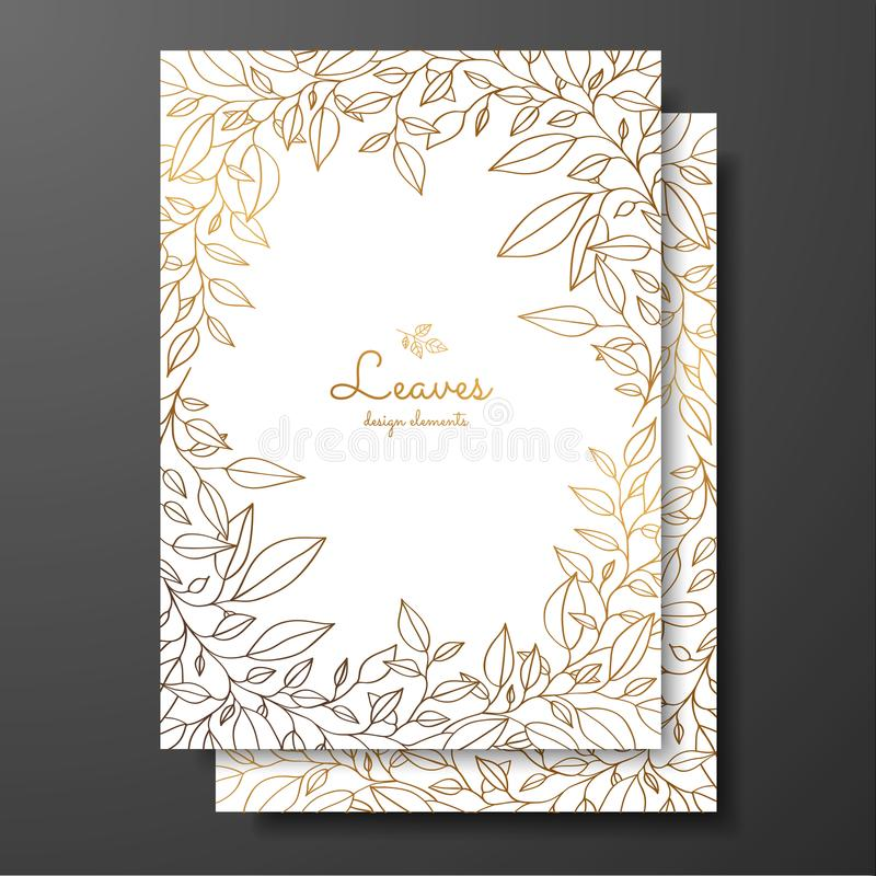 Save the date card wedding invitation template. Design template with wreath of leaves. Gold card template for greeting card, postc. Ard, thank you card, menu royalty free illustration