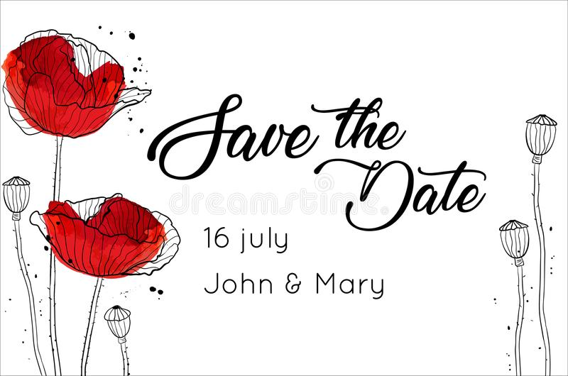 Save the date design template with poppies black and white vector vector illustration