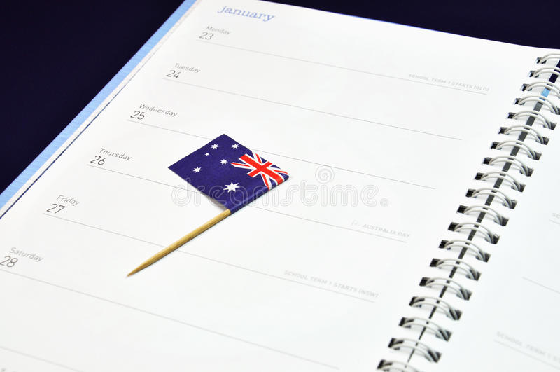 Save The Date Diary Journal For January 26, Australia Day Holiday. Stock Photos