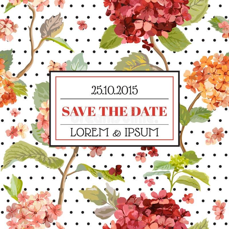 Save the Date - Floral Hortensia Autumn Card - Vintage Design royalty free illustration