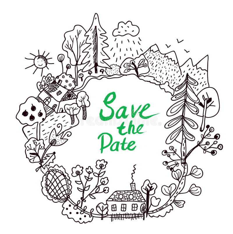 Save the date frame with doodle nature elements royalty free illustration