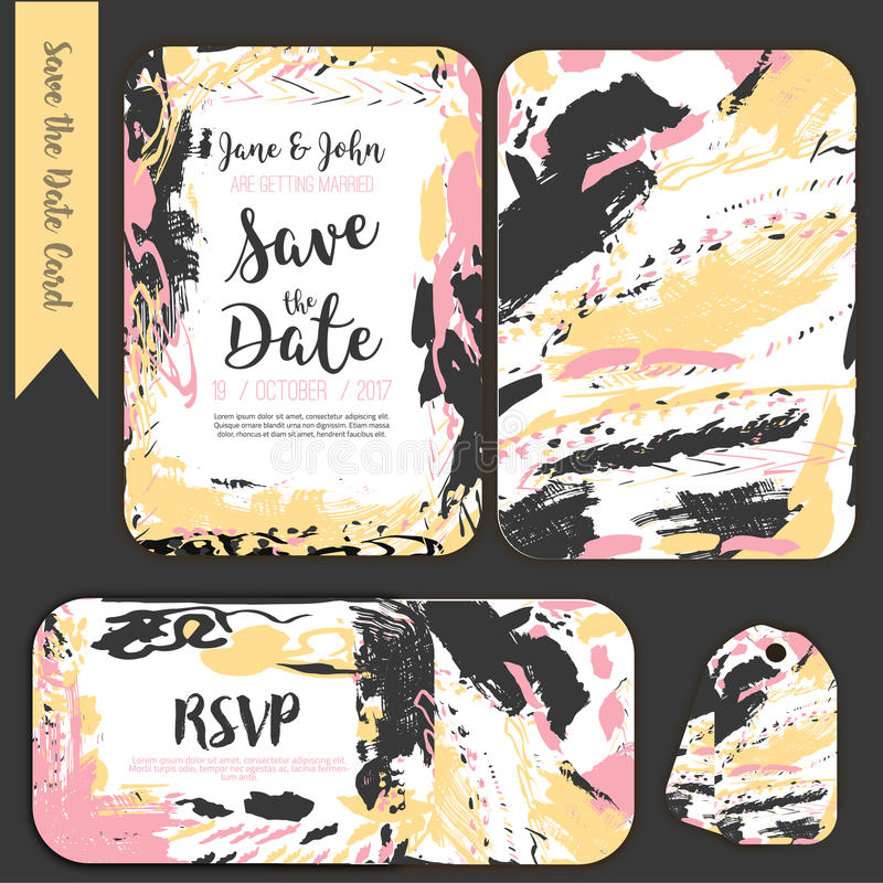 Save the date freehand card with hand drawn background. Modern Stock vector. Invitation design with menu and RSVP card. stock illustration