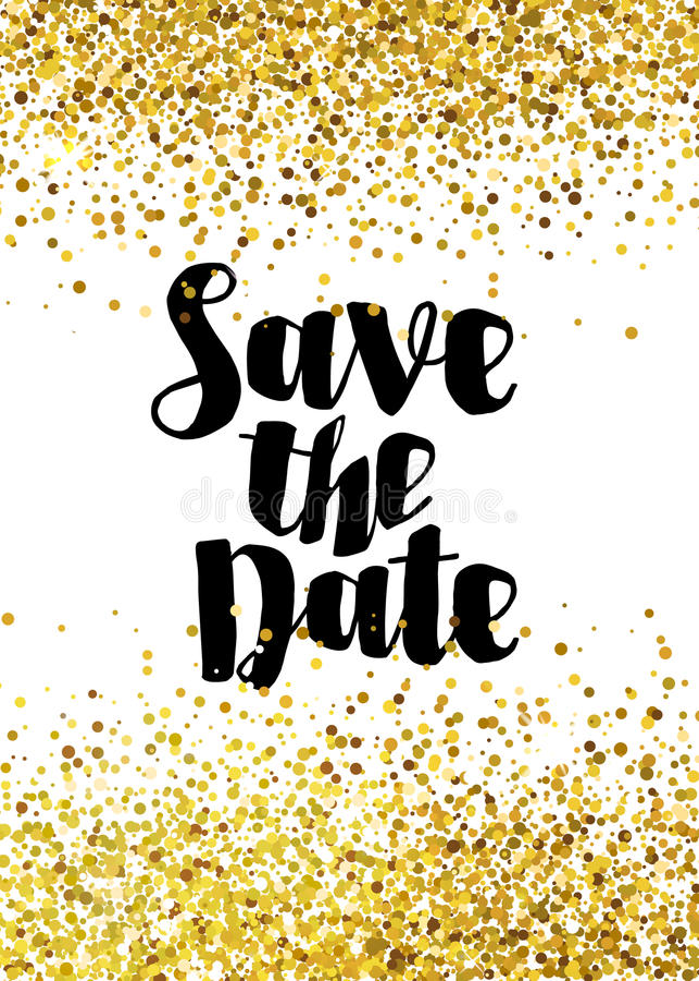 Save The Date Golden Glitter Wedding Invitation Template Stock ...
