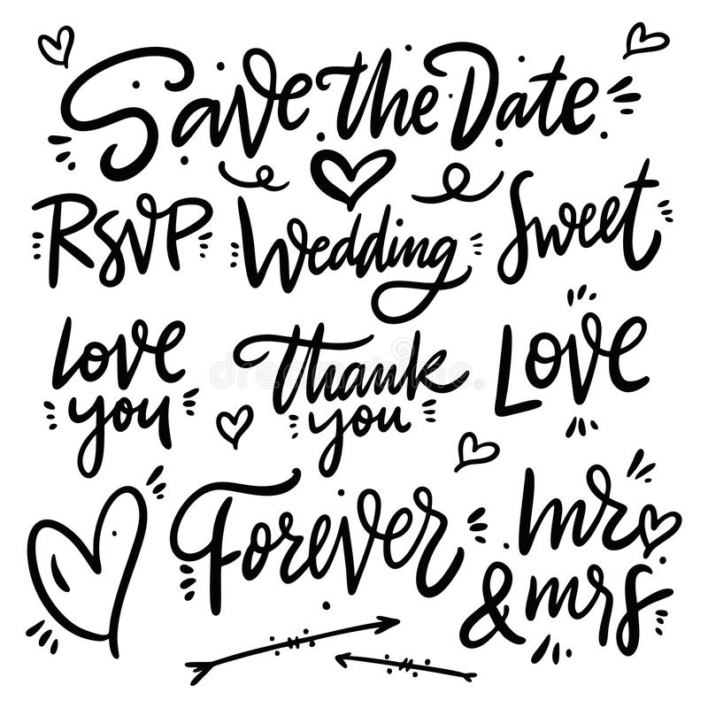 Save the date hand drawn phrases set. Collection vector lettering. Isolated on white background royalty free illustration