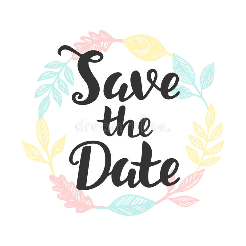 Save The Date Hand Lettering Stock Vector - Illustration of party ...