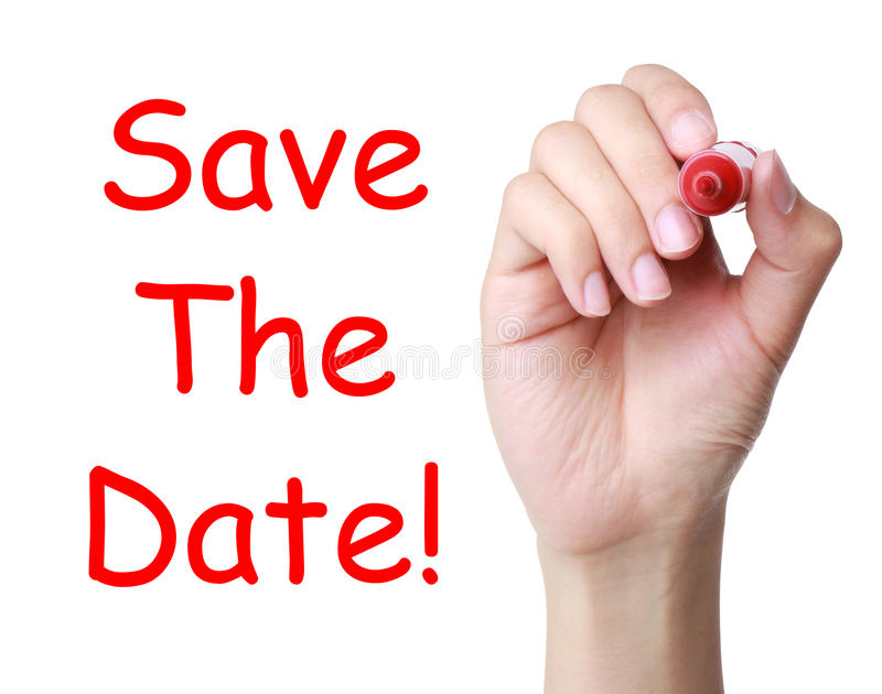 Save the Date. Hand with marker writing save the date on transparent board stock photos