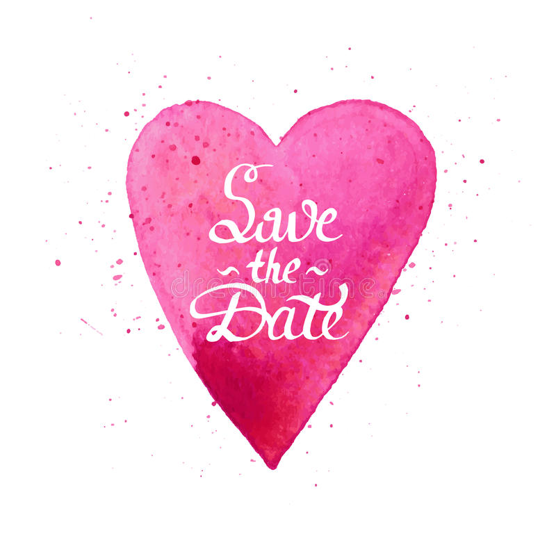 Save the date. Handmade watercolor postcard with heart. royalty free stock image