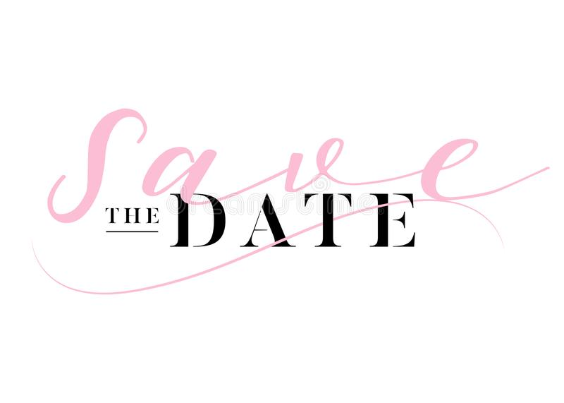 Save the Date Heading for Wedding Invitation. Elegant Handwritten Calligraphy. Luxury Label, Black and Pink Colors. Trendy Wedding Title Design with Lettering vector illustration