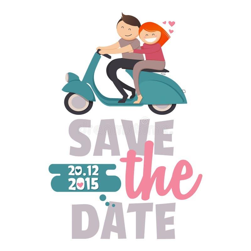 Save the Date Invitation Card Design stock illustration