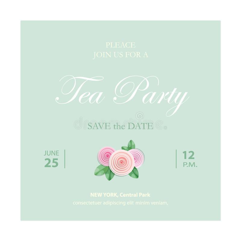 Save the date invitation card. Wedding template with sample text. Vector stock illustration