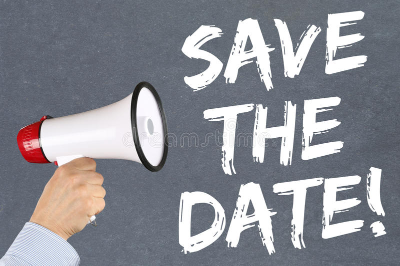 Save the date invitation message information megaphone. Save the date invitation message information hand with megaphone royalty free stock photo