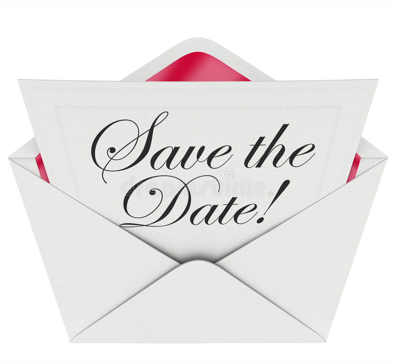 Save The Date Invitation Party Meeting Event Envelope Schedule Stock
