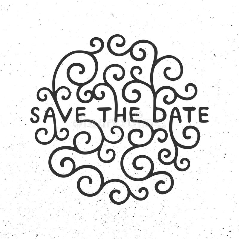 Save the Date invite card vector template with modern calligraphy on white background. Handwritten lettering. Hand drawn design elements vector illustration