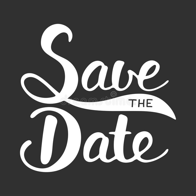 Save the Date invite card vector template. With modern ink brush calligraphy on dark background. Handwritten lettering. Hand drawn design elements. Unique royalty free illustration