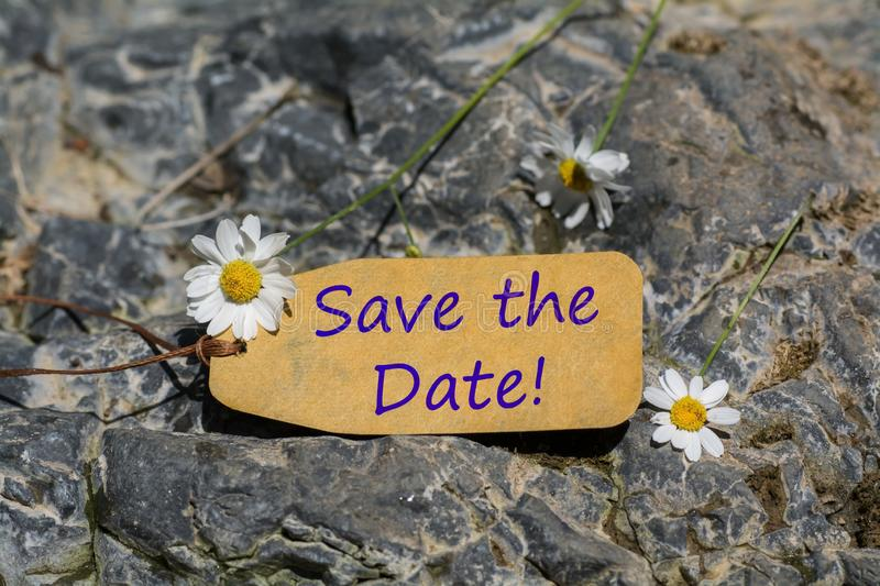 Save the date label. The save the date text written in the label with chamomile flower on the rock stock images