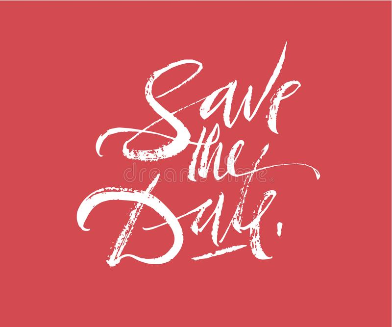 Save the date lettering. Brush pen hand drawn calligraphy. Wedding invitation text. Modern inscription with flourishes. stock illustration