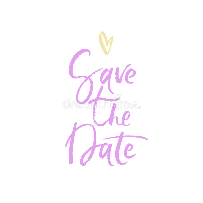 Save the Date. Modern brush calligraphy. royalty free stock image