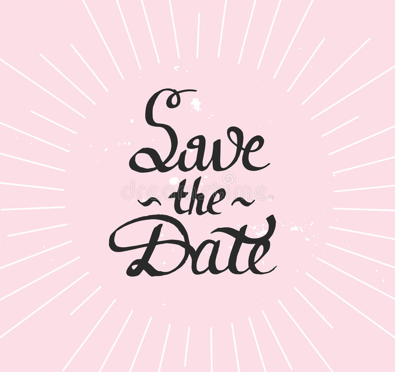 Save the Date. Modern brush calligraphy with sunburst. stock image