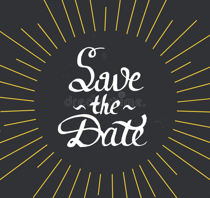 Save the Date. Modern brush calligraphy with sunburst. royalty free stock photo