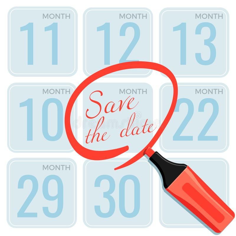 Save the date note made by marker on calendar vector vector illustration