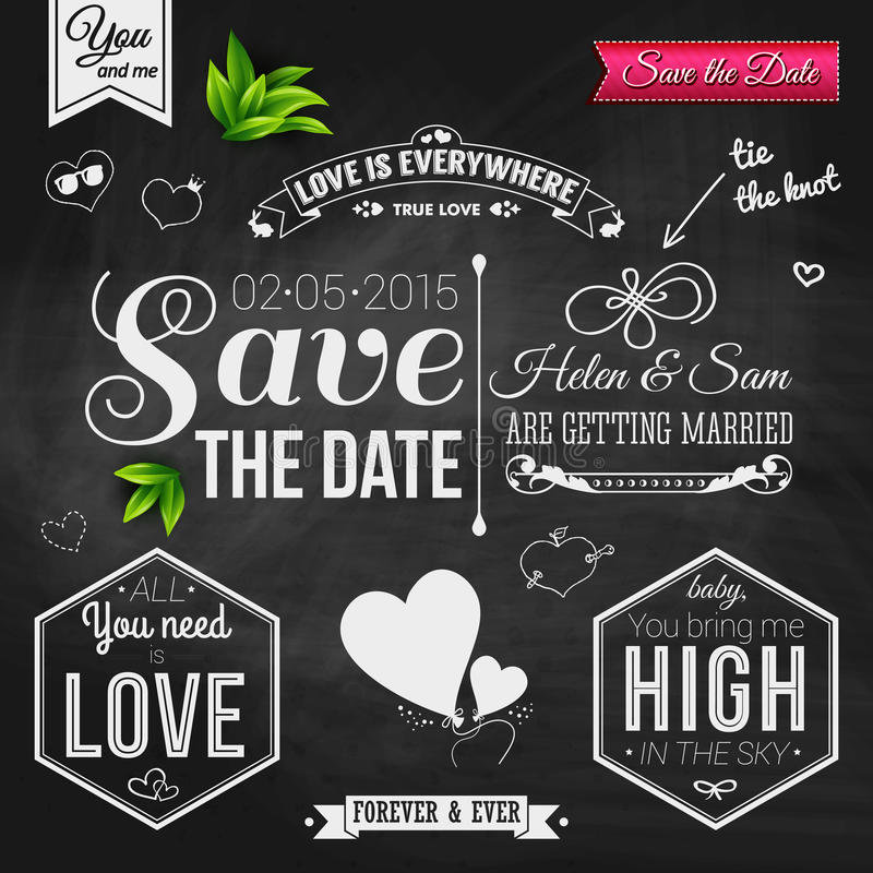 Save the date for personal holiday. Wedding invitation on chalkboard. Vector image. royalty free stock image