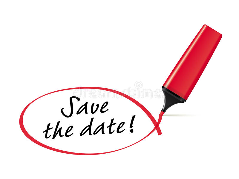 Save the date. Red felt tip pen drawing squiggle around the words Save the date vector illustration