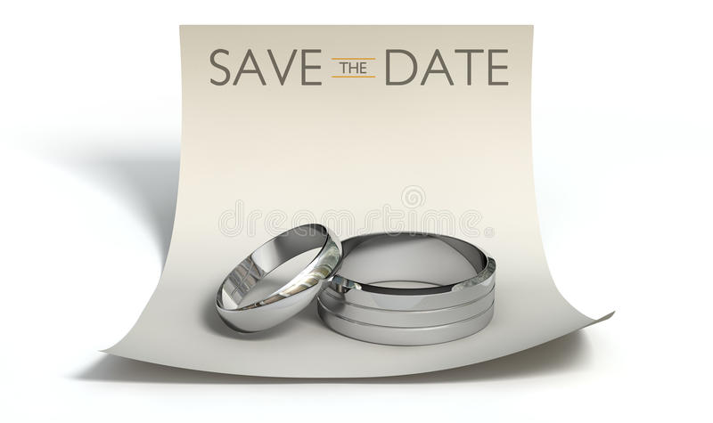 Save The Date Rings And Note royalty free illustration